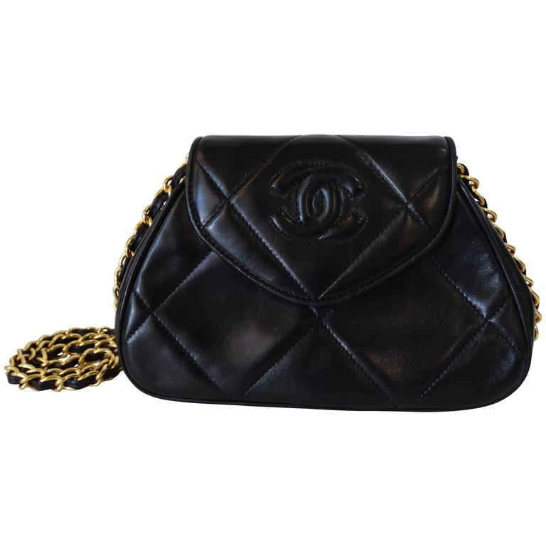 Rare 1990s Chanel Black Lambskin Quilted Mini Bag 1