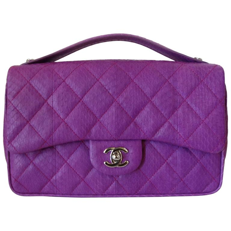 2015 Chanel Purple Elaphe Watersnake Flap Bag For Sale