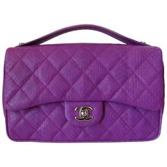 2015 Chanel Purple Elaphe Watersnake Flap Bag
