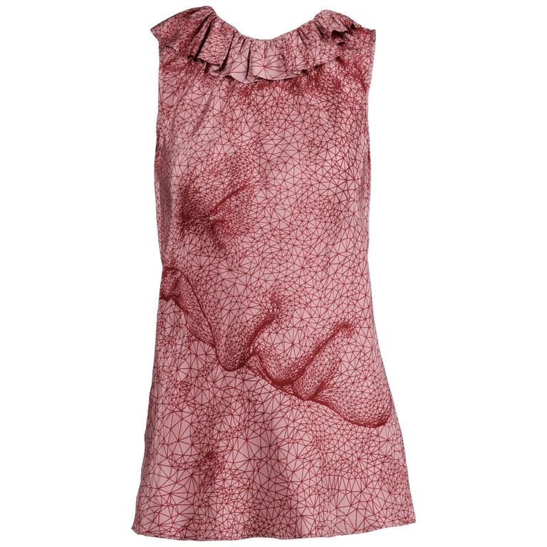 """Jean Paul Gaultier Burgundy and Pink Constellation """"Face"""" Tank Top Shirt For Sale"""