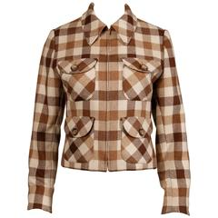 1970s Valentino Vintage Brown Wool Plaid Jacket