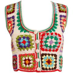 Adolfo Colorful 1970s Vintage Wool Granny Squares Hand Crochet Vest Top