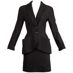 1980s Thierry Mugler Vintage Black Wool Jacket + Skirt Suit 2-Pc Ensemble