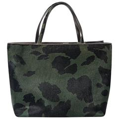 Green & Black Jimmy Choo Pony Hair Tote Bag