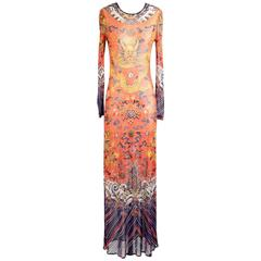Vivienne Tam Dragon Print Mesh Maxi Dress circa 1990s