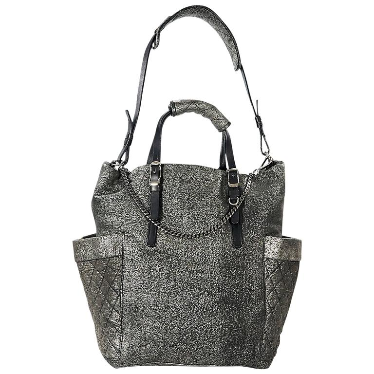 Matte Silver Jimmy Choo Leather Satchel For Sale