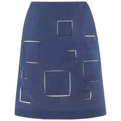 GIVENCHY Couture A/W 1998 ALEXANDER McQUEEN Blue Cotton Square Cut Work Skirt