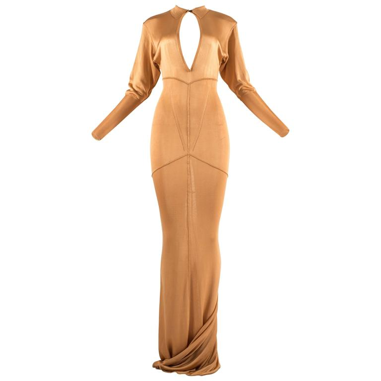Alaia Autumn-Winter 1986 apricot acetate knit evening gown with train