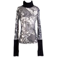 Jean Paul Gaultier Printed Mesh Turtleneck Top w/ Knit Collar/Cuffs circa 2000s