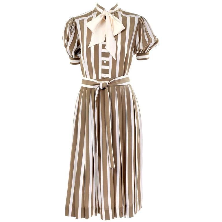 Albert Nipon Silk Striped Vintage 2 pc. Dress With Bow