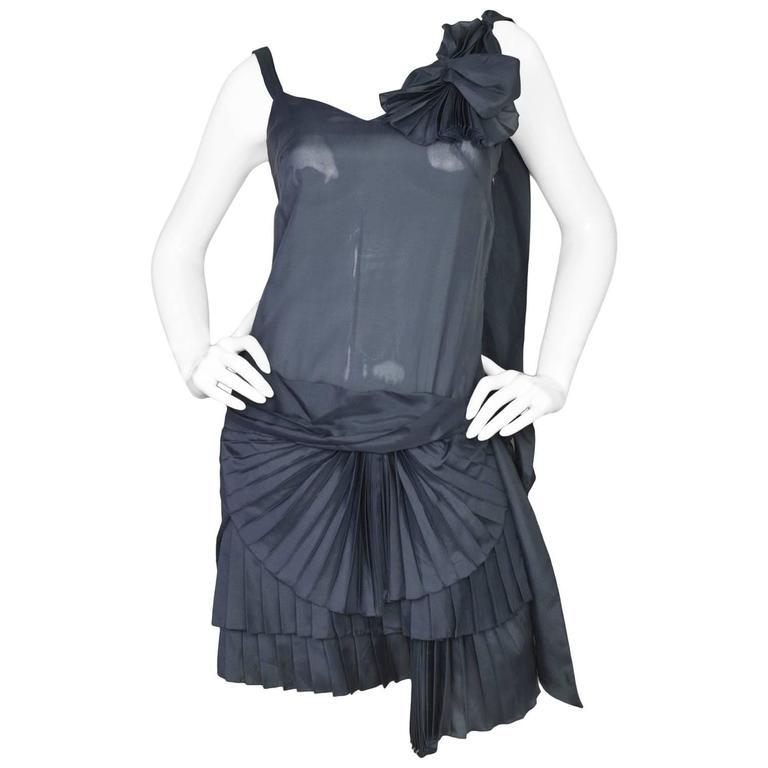 Alexander McQueen Vintage Slate Silk Pleated Ruffle Dress sz IT38