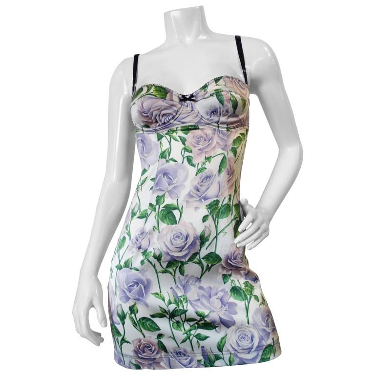 Dolce & Gabbana Purple Rose Print Dress 1