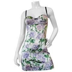 Dolce & Gabbana Purple Rose Print Dress