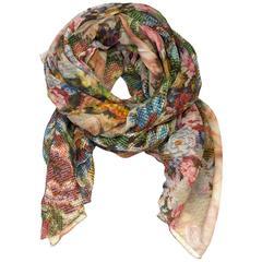 Dolce & Gabbana NEW Blush & Multi-Colored Mosaic Print Silk Scarf