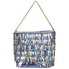 Dolce & Gabbana Vintage Blue Silk & MOP Evening Bag rt. $2,100