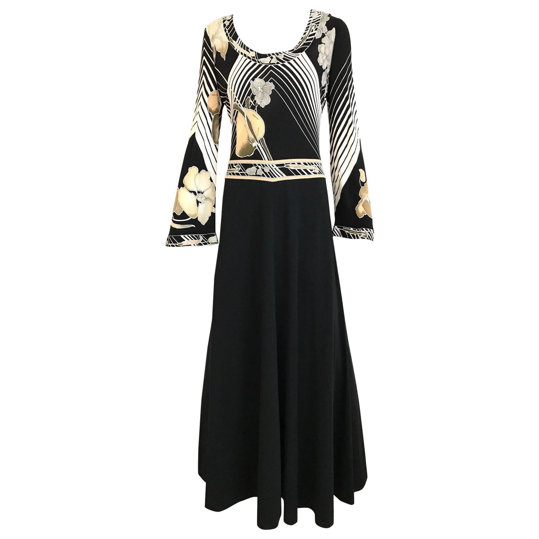 1970s Leonard Floral Print Black and White Jersey Maxi Dress