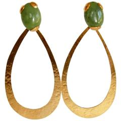 Herve van der Straeten Gilded Brass and Jade Pierced Earrings