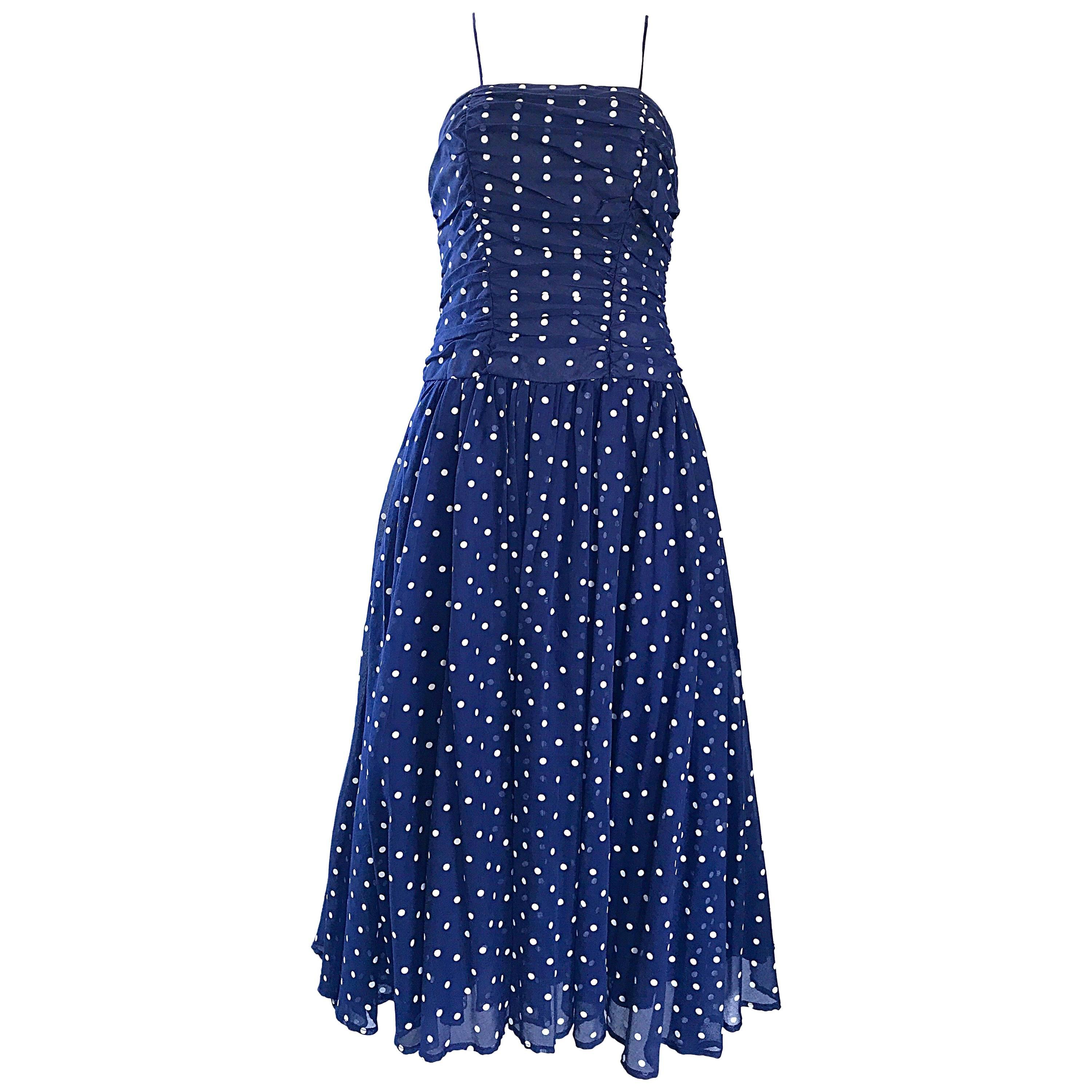 Chic Vintage Navy Blue and White Hand Painted Polka Dot Sleeveless Ruched Dress