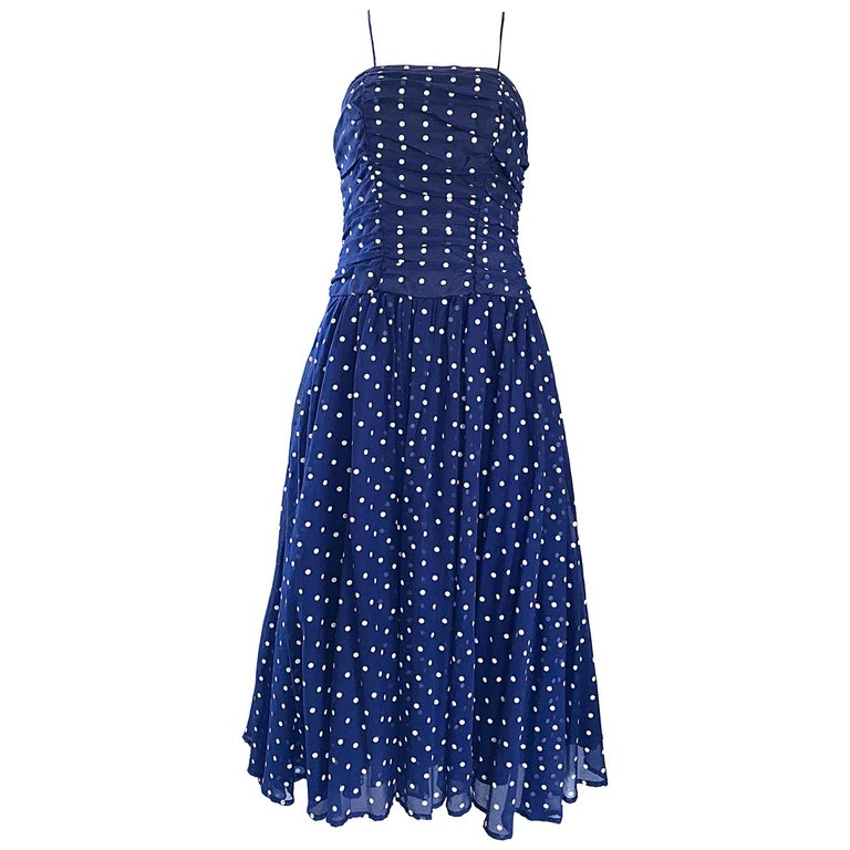 Chic Vintage Navy Blue and White Hand Painted Polka Dot Sleeveless Ruched Dress For Sale