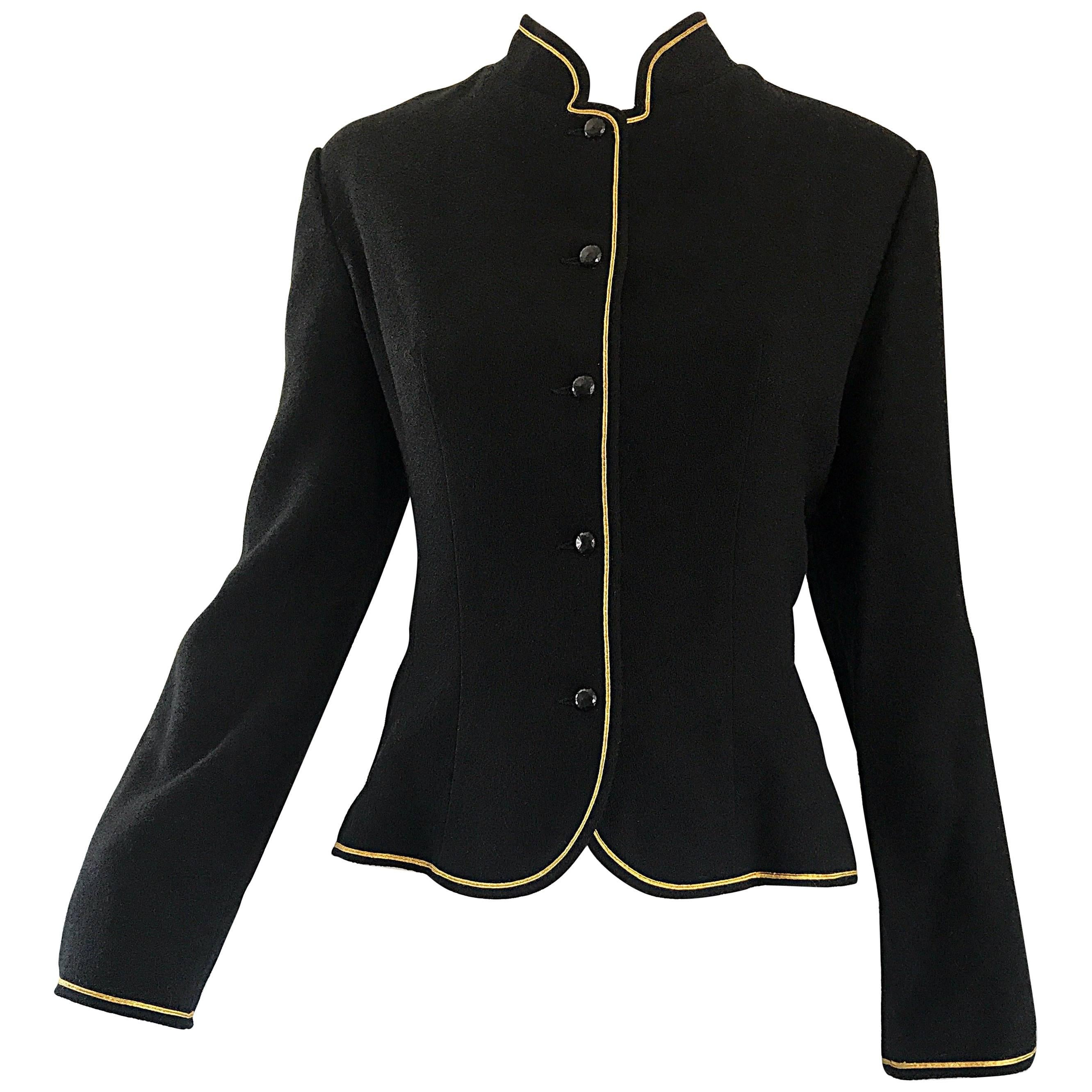 1960s Geoffrey Beene Black and Gold Military Inspired Vintage 60s Wool Jacket