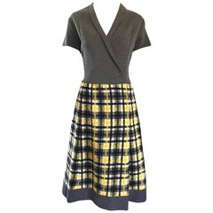 1960s Yellow, Gray, Black, White Wool Plaid Vintage 60s Wrap Style A Line Dress
