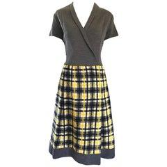 1960s Yellow, Gray, Black, White Wool Plaid Vintage 60s Wrap Style A Line Dress