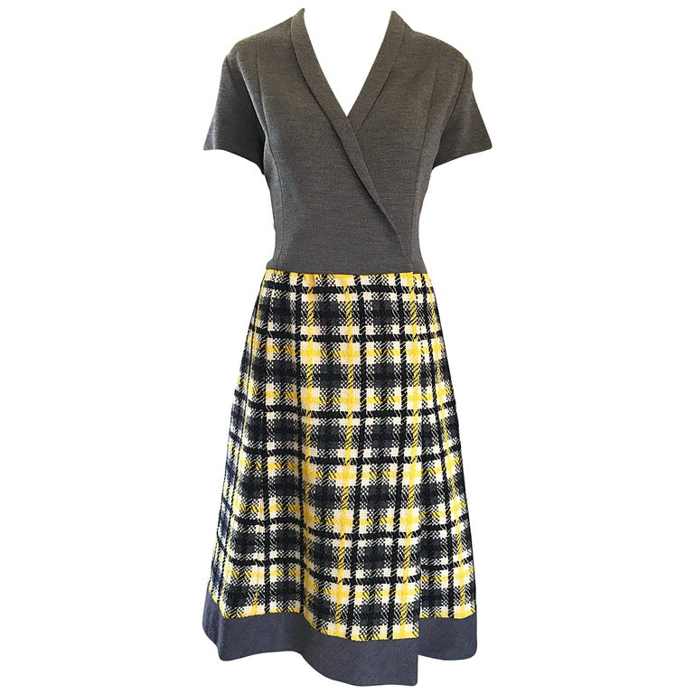 1960s Yellow, Gray, Black, White Wool Plaid Vintage 60s Wrap Style A Line Dress For Sale