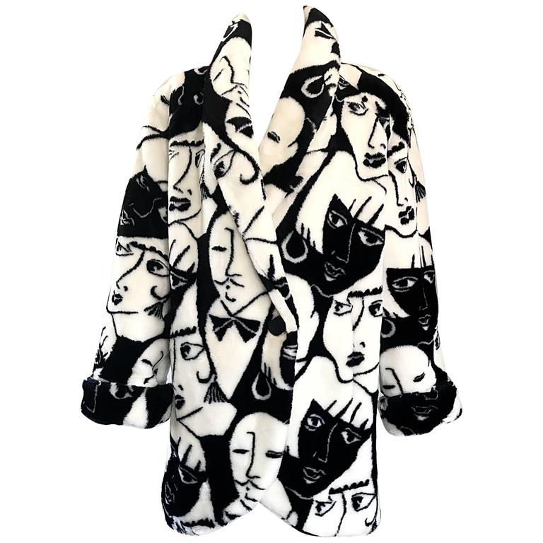 Rihanna's Rare Vintage Picasso Esque Face Print Black and White Faux Fur Jacket