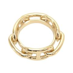 Hermes Regate Chain Gold Tone Scarf Ring