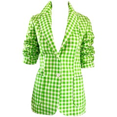 1970s Larry Levine Lime Green + White Gingham Vintage Fitted 70s Blazer Jacket