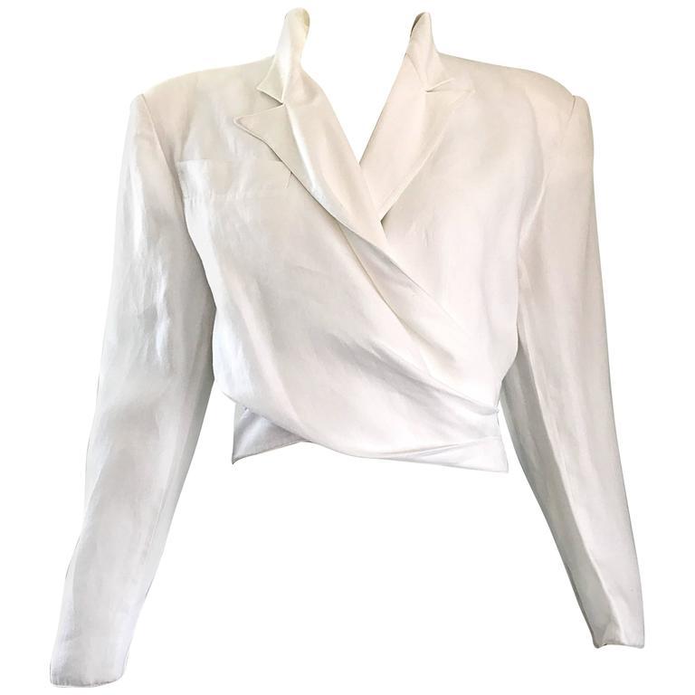 Claude Montana White Linen Avant Garde Vintage Cropped Wrap Jacket, 1980s