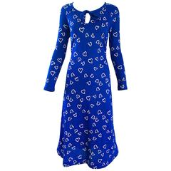 Rare 1970s Diane Von Furstenberg Royal Blue + White Heart Vintage 70s Dress