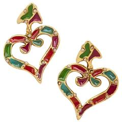 Christian Lacroix Vintage Clips-on Earrings in Gilt Metal, Pearl and Enamel