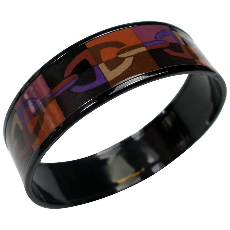 Hermes Optique Chaine D'Ancre Enamel Bracelet PM 6 cm / Black Limited Edition For Sale