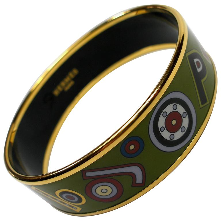 Hermès Tohu Bohu Printed Enamel Bracelet PM 6 cm / RARE  For Sale