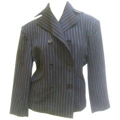 Issey Miyake Women's Pin Striped Double Breasted Wool Jacket ca 1990