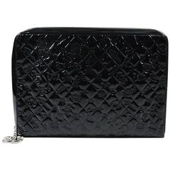 "Chanel Black Embossed Patent Leather Quilted ""Lucky Symbols"" Zip Portfolio Case"
