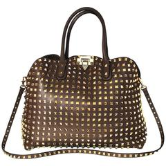 Valentino Taupe Leather Rockstud Dome Double Handle Bag rt. $2,875