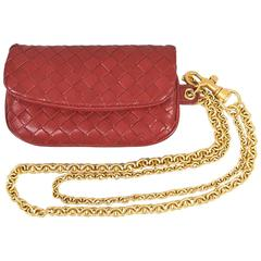 Bottega Veneta NWOT Red & Matte Gold Tone Intrecciato Leather Chained Coin Purse