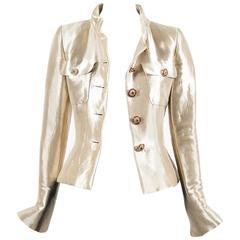 Chanel NWT $9500 Gold Metallic Silk Gripoix Button Tailored Short Jacket SZ 36