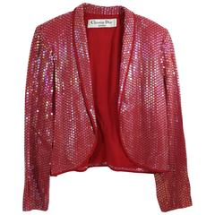 Vintage Impactful ChristianDior Red Viscose and Sequin Jacket / Bolero Size FR 4