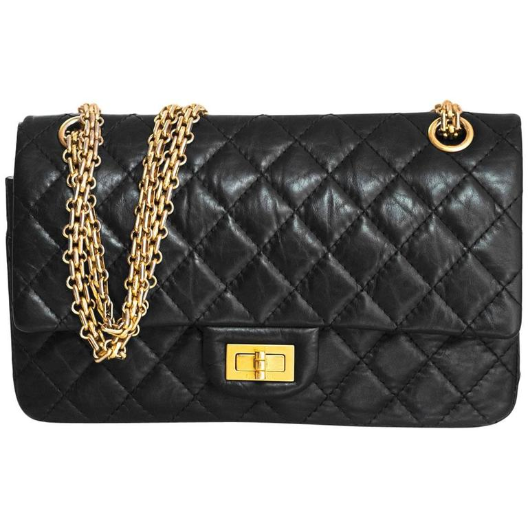c7b64fc69a4b Chanel Black Calfskin Leather 2.55 Reissue 225 Double Flap Classic Bag For  Sale