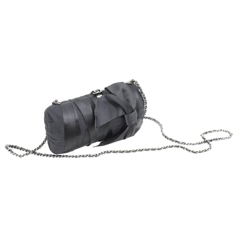 Chanel Black Evening  Silk Clutch with Silver Hardware For Sale