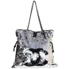 Chanel Silver and Black Sequined Summer Nights CC Tote Bag