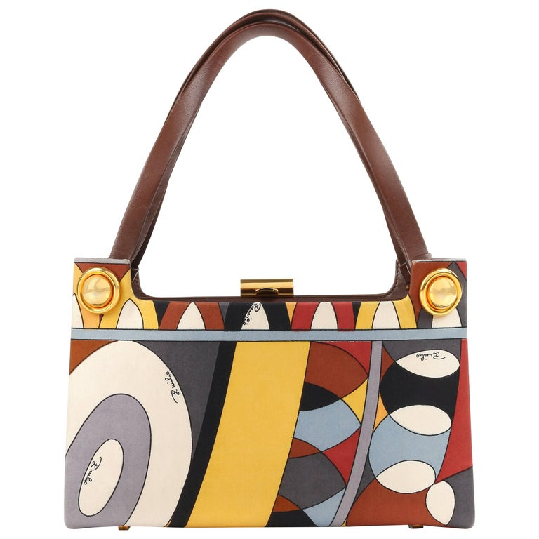 EMILIO PUCCI c.1970's Brown Multicolor Signature Print Silk & Leather Purse