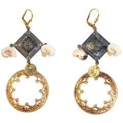 Gold Plated and Gunmetal Drop Earrings with Shells