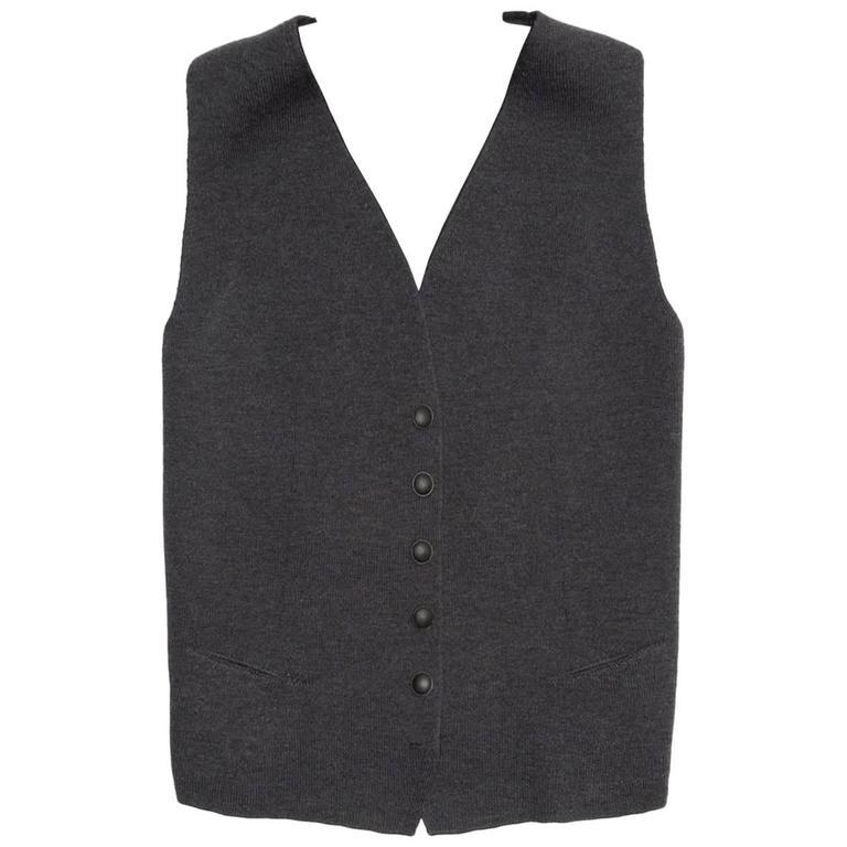 Hermès Grey Wool Knit Vest