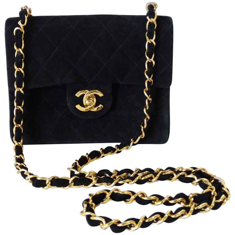 1990s Chanel Suede Quilted Mini Bag 1