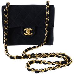 1990s Chanel Suede Quilted Mini Bag