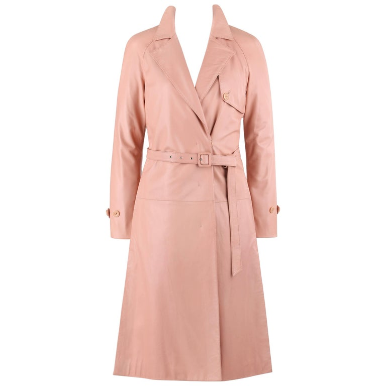 "ALEXANDER McQUEEN A/W 2002 ""Supercalifragilistic"" Blush Pink Leather Trench Coat"